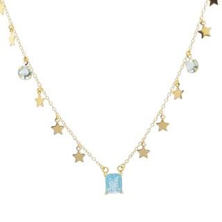 Colar Choker Folheado com Medalhas de Estrelas e Pedras Azul Paraíba