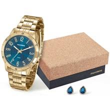 Kit Relógio Mondaine Feminino Dourado Azul com Brinco 94774LPMKDE4K2