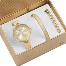Kit Relógio Mondaine Feminino Dourado Bracelete 76611LPMKDF1K1