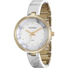 Kit Relógio Mondaine Feminino Dourado Branco Bracelete 76611LPMKDF3K1