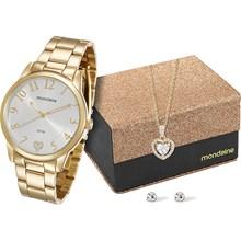 Kit Relógio Mondaine Feminino Dourado Colar e Brinco 76538LPMKDE1K1