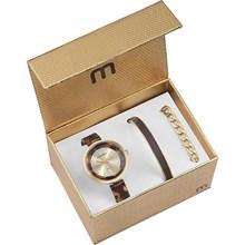 Kit Relógio Mondaine Feminino Dourado Marrom Bracelete 76611LPMKDF2K1