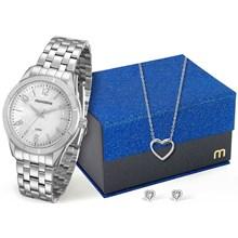 Kit Relógio Mondaine Feminino Prata Colar e Brinco 94865L0MKNE4K2