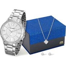 Kit Relógio Mondaine Feminino Prata com Colar e Brincos 83318L0MKNE1K1
