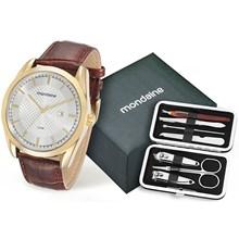 Kit Relógio Mondaine Masculino Dourado Corta Unha 76582GPMKDH2K3