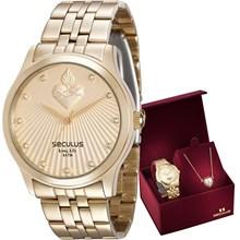 Kit Relógio Seculus Dourado Feminino Sagrado Coração 28823LPSKDA1K1
