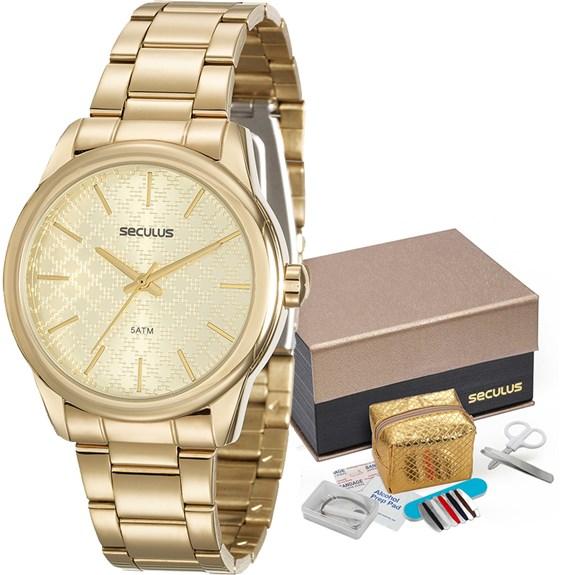 Kit Relógio Seculus Feminino 20564LPSKDS1K1