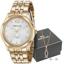 Kit Relógio Seculus Feminino 28968LPSKDA1K1