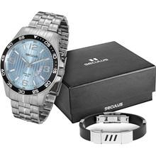 Kit Relógio Seculus Masculino Azul Bracelete 28739G0SGNA2K1