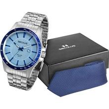 Kit Relógio Seculus Masculino Gravata Azul 28785G0SGNA1K1