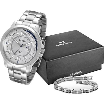 f25a28fb01f Kit Relógio Seculus Masculino Prata Bracelete 28792G0SVNA1K1 - My Time