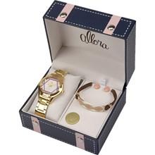 Relógio Allora Feminino Dourado Kit AL2035FFV/K4N