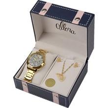Relógio Allora Feminino Kit Asa de Borboleta Dourado AL2036FFX/K4A