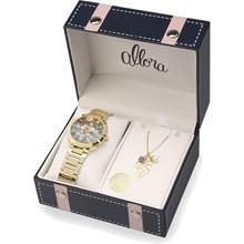 Relógio Allora Feminino Kit Camoflower Dourado AL2036CI/K4V