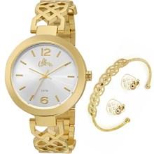 Relógio Allora Feminino Kit Espelhados Geométricos Dourado AL2035FGG/K4K