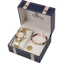 Relógio Allora Feminino Kit Tramas Étnicas Dourado AL2035FFV/K4N