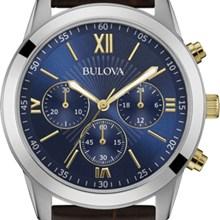 Relógio Bulova Masculino Cronógrafo Couro Marrom Azul WB22382A