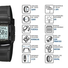 Relógio Casio Data Bank Masculino Preto DB-36-1AVDF