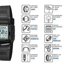 Relógio Casio Data Bank Masculino Preto DB-36-1AVDF
