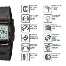 Relógio Casio Data Bank Masculino Preto DB-36-9AVDF