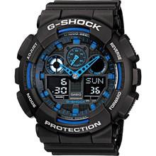 Relógio Casio G-Shock Masculino Preto Azul GA-100-1A2DR
