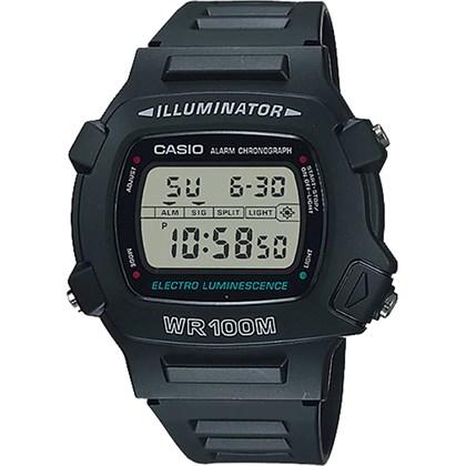Relógio Casio Illuminator Masculino Borracha Preto W-740-1VS