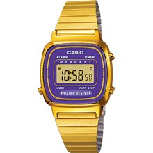 Relógio Casio Vintage Dourado Feminino Lilás LA670WGA-6DF