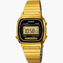Relógio Casio Vintage Dourado Feminino Preto LA670WGA-1DF