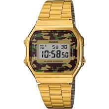 Relógio Casio Vintage Feminino Dourado Camuflado A168WEGC-3EF