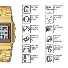 Relógio Casio Vintage Masculino Dourado A500WGA-9DF