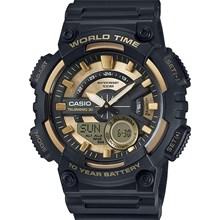 Relógio Casio World Time Preto Dourado AEQ-110BW-9AVDF
