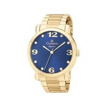 Relógio Champion Elegance Feminino Dourado Azul CN26279F