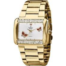 Relógio Champion Passion Feminino Quadrado Dourado Branco CH24179H