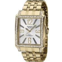 Relógio Champion Passion Feminino Quadrado Dourado Branco CH24222H