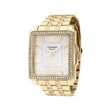 Relógio Champion Passion Feminino Quadrado Dourado Branco CN27929H