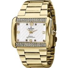 Relógio Champion Passion Feminino Quadrado Dourado Branco CN29105H