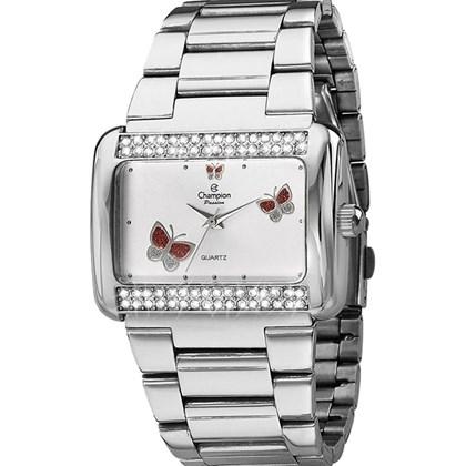 02c12c14714 Relógio Champion Passion Feminino Quadrado Prata Branco CH24179Q ...