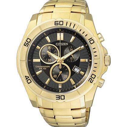 b89bf848652 Relógio Citizen Masculino Cronógrafo Dourado Preto AN7102-54E - My Time