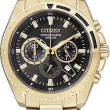 Relógio Citizen Masculino Cronógrafo Dourado Preto AN8012-50E
