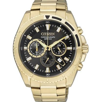 63dbdb39a90 Relógio Citizen Masculino Cronógrafo Dourado Preto AN8012-50E - My Time