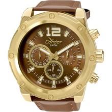 Relógio Condor Masculino Cronógrafo Couro Dourado Marrom COVD54AM/2M