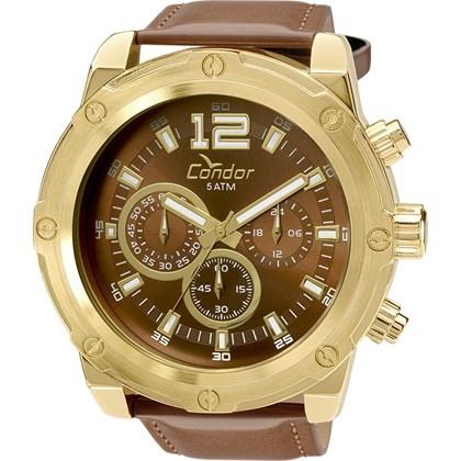 150d38d497a Relógio Condor Masculino Cronógrafo Couro Dourado Marrom COVD54AM 2M ...