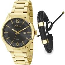 Relógio Condor Masculino Dourado Kit Pulseira CO2115WG/K4P