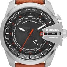Relógio Diesel Mega Chief World Time Masculino Couro Marrom DZ4321