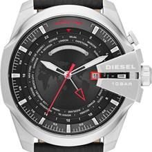 Relógio Diesel Mega Chief World Time Masculino Couro Preto DZ4321