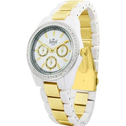 cd37e69225982 Relógio Dumont Feminino Branco Dourado SP68122B - My Time