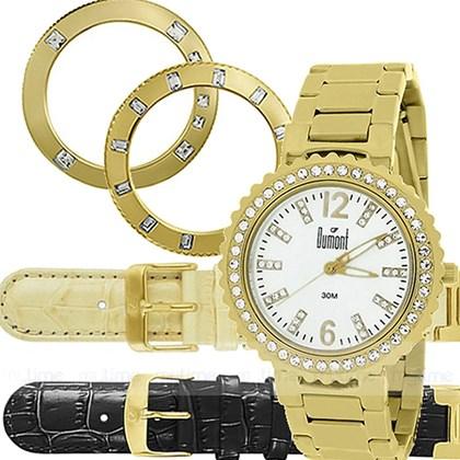 b8a434e5b77 Relógio Dumont Vip Feminino Kit Dourado Preto SK85135E - My Time