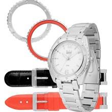 Relógio Dumont Vip Feminino Kit Vermelho Preto SK35171V