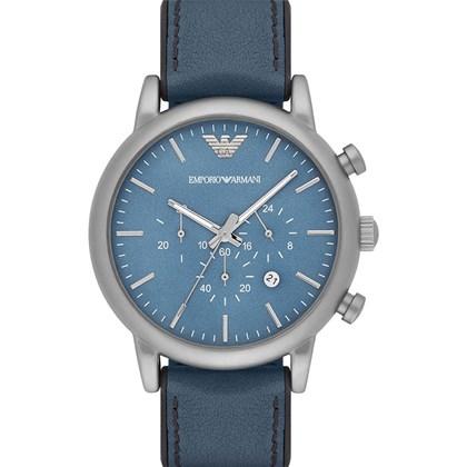 d65680b4e Relógio Emporio Armani Masculino Couro Azul AR1969 - My Time