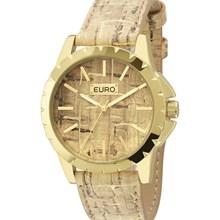Relógio Euro Feminino Dourado Couro Marrom EU2039IU/2M